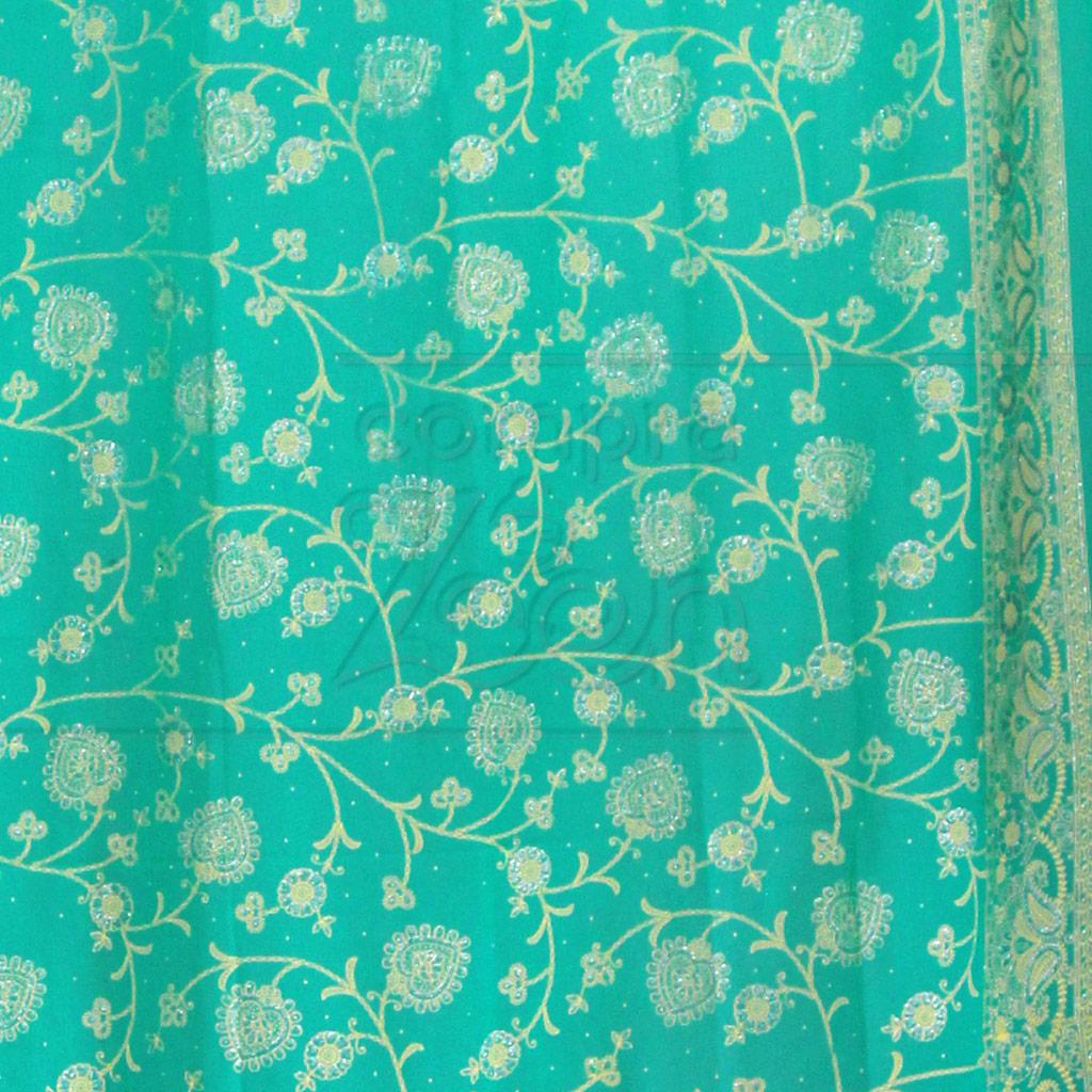 Cortina trabahada em tecido verde gua 1 5 m proc ndia for Cortina verde agua