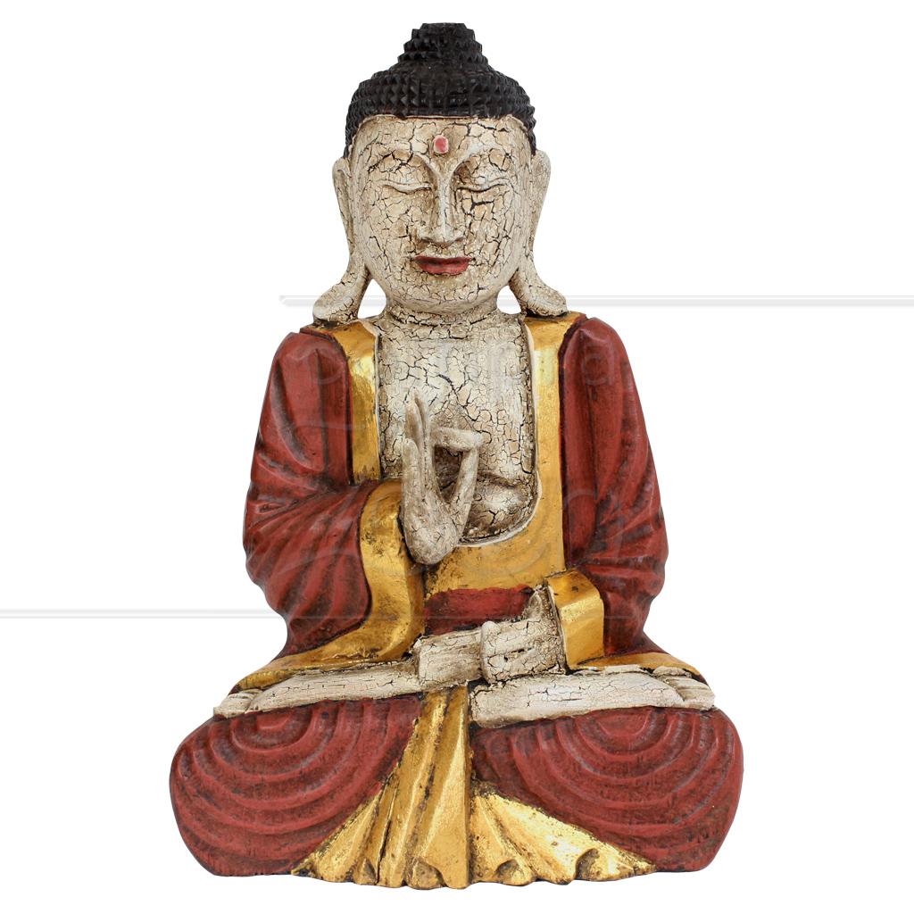 Est 193 Tua Buda Em Madeira Craquelado Vermelho 30 Cm Proc