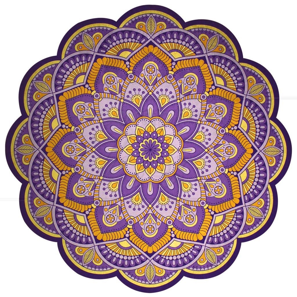 Tapete Mandala Em Veludo E Pvc Roxo E Amarelo 1 4 M Proc