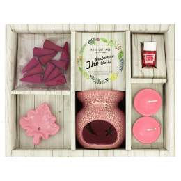 KIT AROMA RECHAUD C/ INCENSO CONE ROSA 7 CM|PROC. CHINA