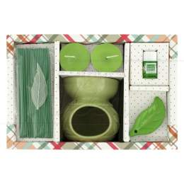 KIT AROMA RECHAUD C/ INCENSO JAPONÊS CHÁ VERDE 8 CM|PROC. CHINA
