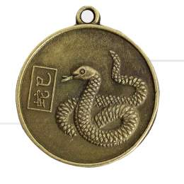MEDALHA DUAS FACES EM METAL SERPENTE / KUAN-YIN 2,5 CM|PROC. CHINA