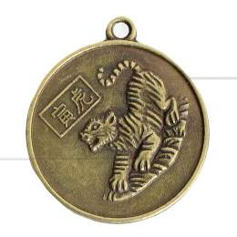 MEDALHA DUAS FACES EM METAL TIGRE / KUAN-YIN 2,5 CM|PROC. CHINA