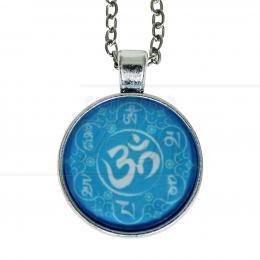 PINGENTE EM METAL MANTRA OM MANI PADME HUM AZUL 3,5 CM (C/ CORRENTE)|PROC. ÍNDIA